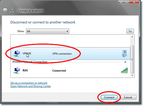 Setting up a VPN on Windows Vista - Part 20 - Connecting to the VPN Server